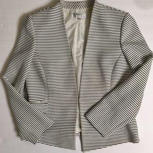 Tahari Striped V Neck Long Sleeve Blazer 14 Casual